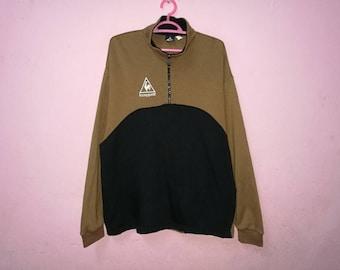 Rare!! Le Coq Sportif Small Logo Spellout Embroidery Half Zipper Pullover Jumper Sweatshirt