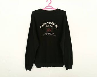 Rare!! Vintage Gianni Valentino Big Spellout Embroidery Pullover Jumper Sweatshirt