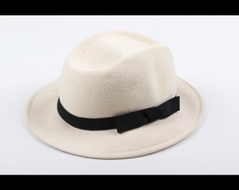 Vintage Felt Fedora Hat with Grosgrain Ribbon