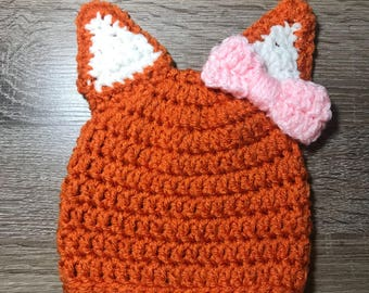Woodland Animal Beanie, Fox Beanie, woodland fox beanie, baby beanie, crochet fox hat, baby fox