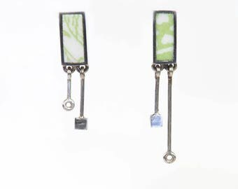 Coeur vert. Sterling earrings with earthenware. Edwige Thiou