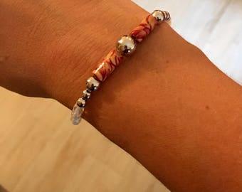 Magenta and beige swirl HOPE beaded bracelet
