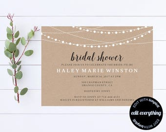 Kraft Bridal Shower Invitation Template - Bridal Shower Invite - Printable Invite Wedding Shower - Printable Bridal Invitation - Kraft Paper