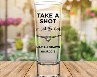 "Custom Personalized ""Tied The Knot"" Tall Wedding Favor Shot Glasses"