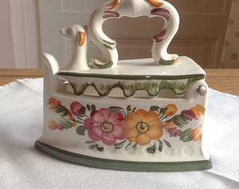 Antique porcelain iron. Hand decorated earthenware iron. Vintage iron. Collector iron
