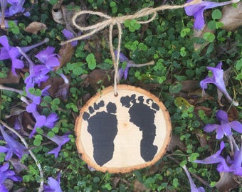 Baby footprints Christmas ornament and wall decor with your baby's footprints