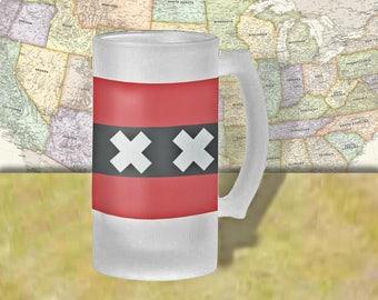 Netherlands Flag Beer Mug, Beer Stein, Country Flag, Country Pride, Beer Glass, 16 oz., Frosted Mug, Beer Thinkers, Beer Lovers, Cold Beer