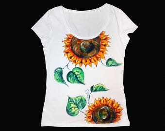 Sunflower shirt, Sunflower painting, Sunflower, Sunflower tshirt, Floral shirt, Floral t shirt, Flower shirt, Flower t shirt, Custom shirt