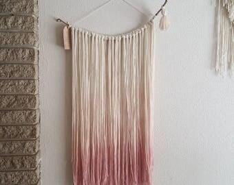 Ombré pink yarn fiber art wall hanging | Nursery