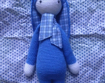 Handmade soft toy blue tiles