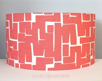 Red geometric fabric lampshade handmade by vivid shades, modern abstract stylish cool funky drum ceiling retro atomic mid mod pattern