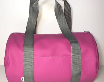 Pink leatherette cyclamen double cotton printed flowers duffel bag