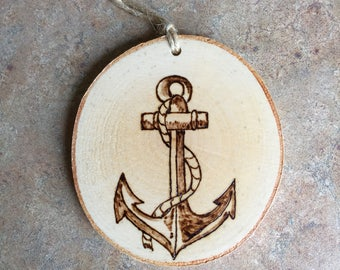Anchor Ornament, Woodburned Maine Ornament, Woodburned Anchor Ornament, Made in Maine Ornament, Birch Ornament, Rustic Ornament