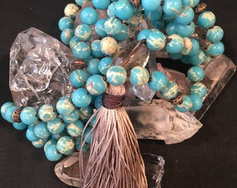 Turquoise Blue Sea Sediment Jasper Hand Knotted Silk Tassel Mala / Yoga Necklace / 108 Prayer Beads / Beige / Copper