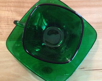 Vintage Green Cup and Saucer