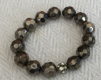 Smokey Grey Faceted Glass Beads Elasticated Bracelet