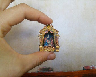 Christmas nativity scene.  (1,57 inches). Dolls house miniature. Handcrafted miniature. For doll House. 1:12 Scale.