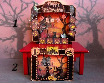 Halloween. Paper theater. Dollhouse. Scale 1:12