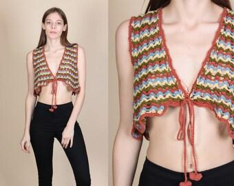 Vintage Hippie Crop Top Vest - Medium // 90s Does 70s Zig Zag Stripe Crochet