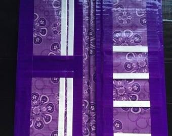 Bi-fold duct tape womens wallet (purple flowers theme)