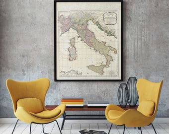 Rare Map of Italy 1794, Old Italy Map, Restoration Hardware Style, Old Map of Italy, Vintage Map of Italy, Antique Home Decor