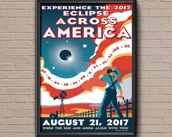 Solar Eclipse, Total Eclipse, 2017, NASA Eclipse Across America August 2017 Poster, nasa poster, eclipse, nasa print, science poster