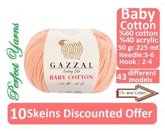 10 Skeins Discounted Offer. Gazzal baby Cotton, cotton yarn, Knitting Yarn, crochet yarn, baby yarn, gazzal, gazzal baby , baby cotton