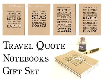 Travel Quote Notebooks Gift Set, Kraft Travel Journals | Travel Quotations, Travel Gift, Graduation Gift | Ruled A6 TN Traveler Notebook Set