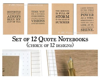 Monthly Notebooks, Set of 12 - Bullet Journal Set   Literary Gift for Writer, Gift for Reader   Typography Notebooks, A6 Pocket Journals