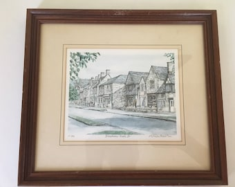 "Vintage watercolor limited edition 110/850 litho hand signed/titled/numbered British artist Glyn Martin, ""Broadway-High St."" Framed/matted."