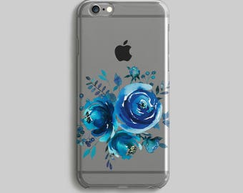 Indigo iPhone Case, Watercolor iPhone 5C Case, Galaxy S7 Case, iPhone 7 Cover, Floral Case iPhone, Clear iPhone 6 Case, Silicone iPhone Case