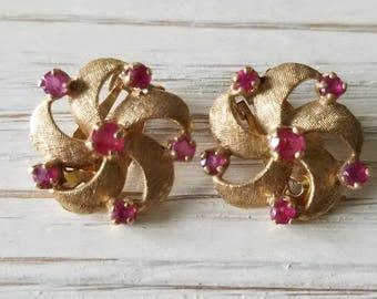 Ladies 14Kyg and Ruby Clip-On Earrings