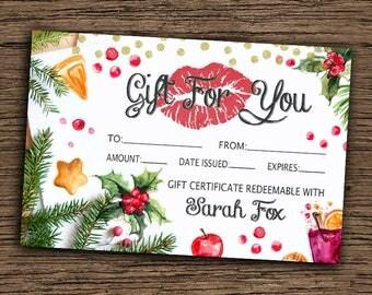 LipSense Christmas Gift For You Card, LipSense Christmas Gift Certificate Card, Customized Xmas LipSense Gift Card