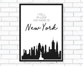 New York Monochrome Print, New York Print, Wall Art, Home Living, New York Gifts, New York City, Skyline New York, Gift for Her, Romantic