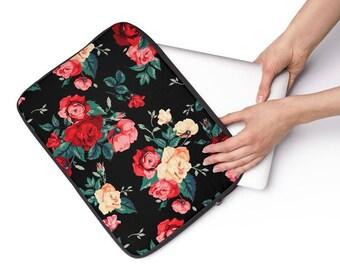 Pink Vintage Rose Floral Laptop Sleeve - Personalized Laptop Sleeve for Macbook Air, Macbook Pro, other Laptops