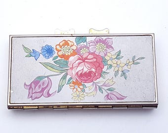 Vintage 50s Decorative Pocket Sized Pill Box Flowers Tin Shabby Chic Decor Good Quality Medicine Schedule