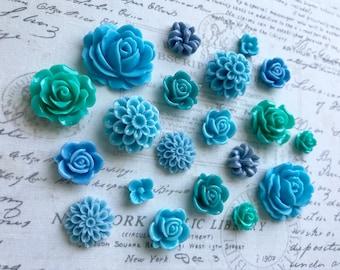 20 Blue Flower Magnets, Blue Flower Magnets, Teal Flower Magnets, Turqoise Flower Magnets