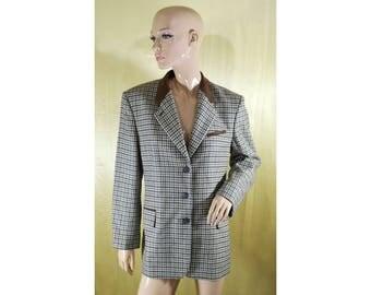 Vintage JOBIS women blazer 100% wool checked suede collar