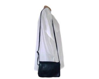 Vintage Lamoda genuine leather purse navy blue bag handbag