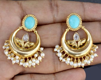 Indian Traditional Designer Jhumka/Jhumki Earring with Pearl, American Turquoise and Cubic Zircon and gold plated 925 sterling silver