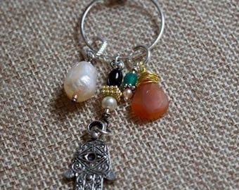 Pearl, Carnelian And Hamsa Necklace~