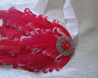 headband red and white feathers adorned with a flower
