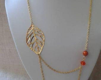 """necklace """"leaf and double gold chain"""""""