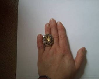 Nice Brown leopard cabochon ring