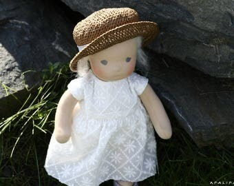 "Waldorf Doll 14"" (36 sm) Varya, natural fiber art doll"