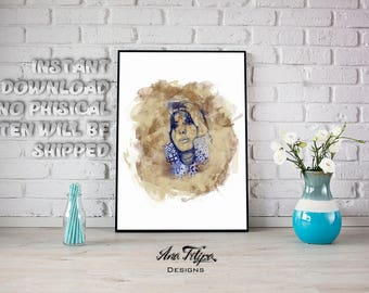 She is into coffee, fashion illustration, pattern, face, coffee, printable art, digital art illustrations, decoration , watercolor print,