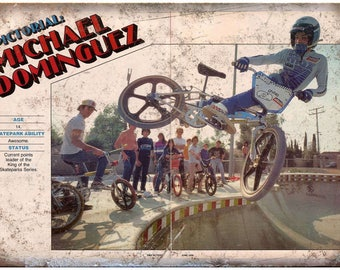 """Vintage BMX, Michael Dominguez, bmx racing 10"""" x 7"""" reproduction metal sign B36"""