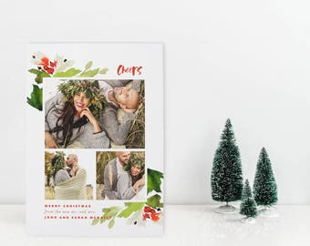 Newlywed Holiday Card with Multiple Photos, Just Married Christmas Card, Our First Christmas, Wedding Holiday Card, Photo Holiday Card