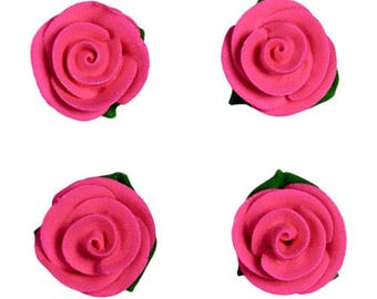 Handmade Deep Pink Sugar Rose Flower Decorations with Leaves - Cupcake, Cake and Cookie Sugar Decorations. Edible Cake Toppers. Pack of 4.