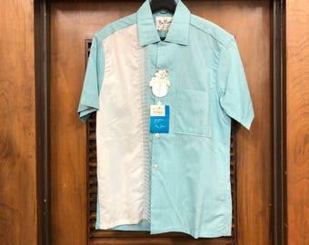 "Vintage 1950's ""Da Vinci"" Two Tone Loop Collar Rockabilly Shirt Deadstock"